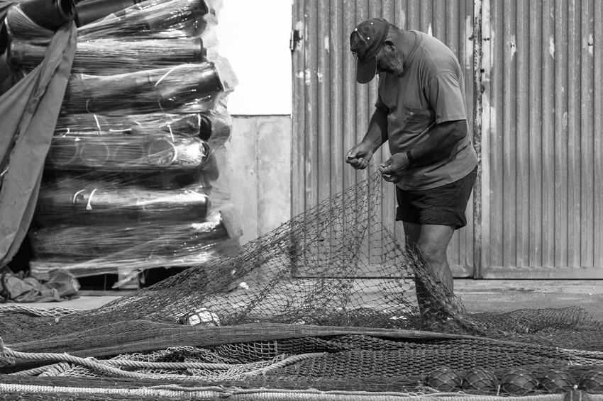 Fishing Net Adult Fisherman Lifestyles Men One Person Outdoors Real People