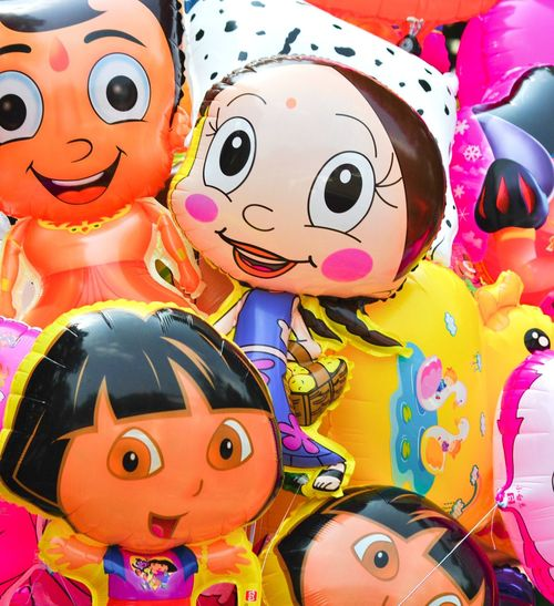 Multi Colored Celebration Indoors  Close-up Chinese New Year No People Day Balloons Cartoon Baloons Cartoon Chotabheem
