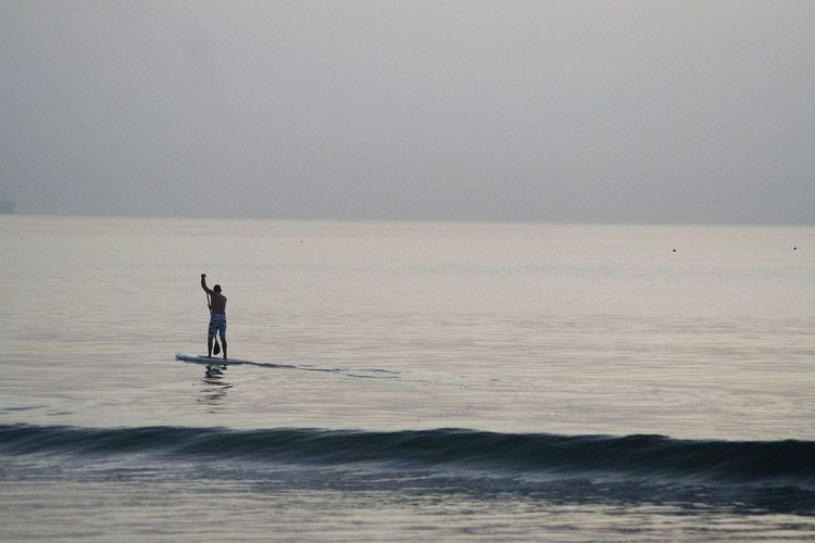 Blue Wave Calm Water Durban South Africa Early Morning Fitness Man Oceanside Paddle Paddleboarding Solitude Tranquil Scene Alternative Fitness Lost In The Landscape Be. Ready.