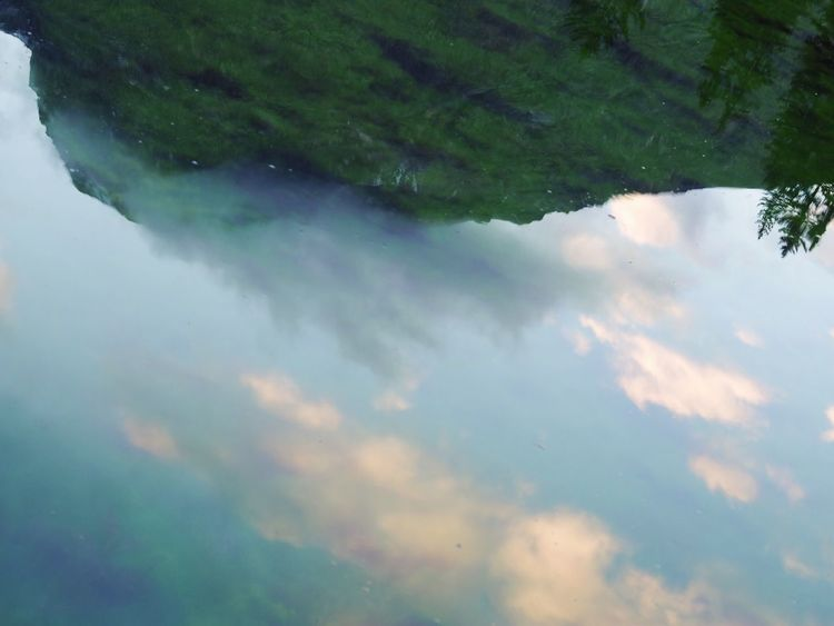 Water Reflection Nature Waterfront Tranquility Beauty In Nature Cloud - Sky Sky Outdoors Pastel Power Pastel Like A Painting Lake Lake View Close-up Abstract Break The Mold Art Is Everywhere