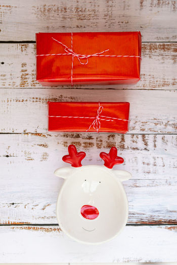 Red christmas decoration on wall