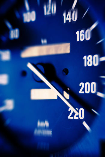 Highest speed Auto Racing Automobile Highest Speed Auto Blue Car Close-up Communication Control Panel Dashboard Day Gauge Land Vehicle Mode Of Transport No People Number Speed Speedometer Text Transportation Urgency