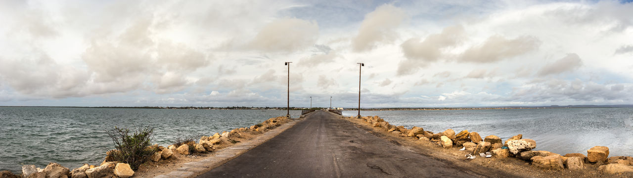 Main road of the port in nosy be, madagascar.