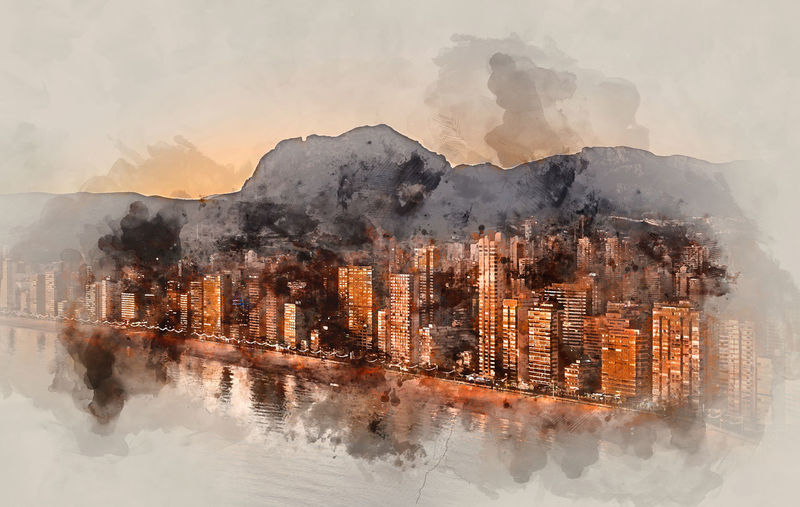 Digital watercolor painting of a Benidorm city at sunset. Costa Blanca, Alicante province. Spain. Alicante Province Spain Benidorm Benidorm Spain City Coastline Costa Blanca SPAIN Skyscrapers Watercolour Architecture Built Structure Cityscape Digital Art Digital Illustration Digitally Altered Digitally Generated Digitally Generated Image Highrise Illustration Mountains Outdoors Sunset Watercolor Watercolor Painting Watercolour Painting