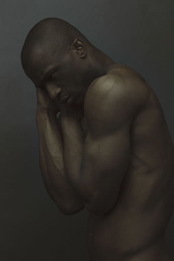 Shirtless Studio Shot One Person Indoors  Men Muscular Build Adult Young Men Males  Black Background Young Adult Shaved Head Lifestyles Mid Adult Masculinity Portrait Mature Men Standing Chest Contemplation Model Muscles My Best Photo