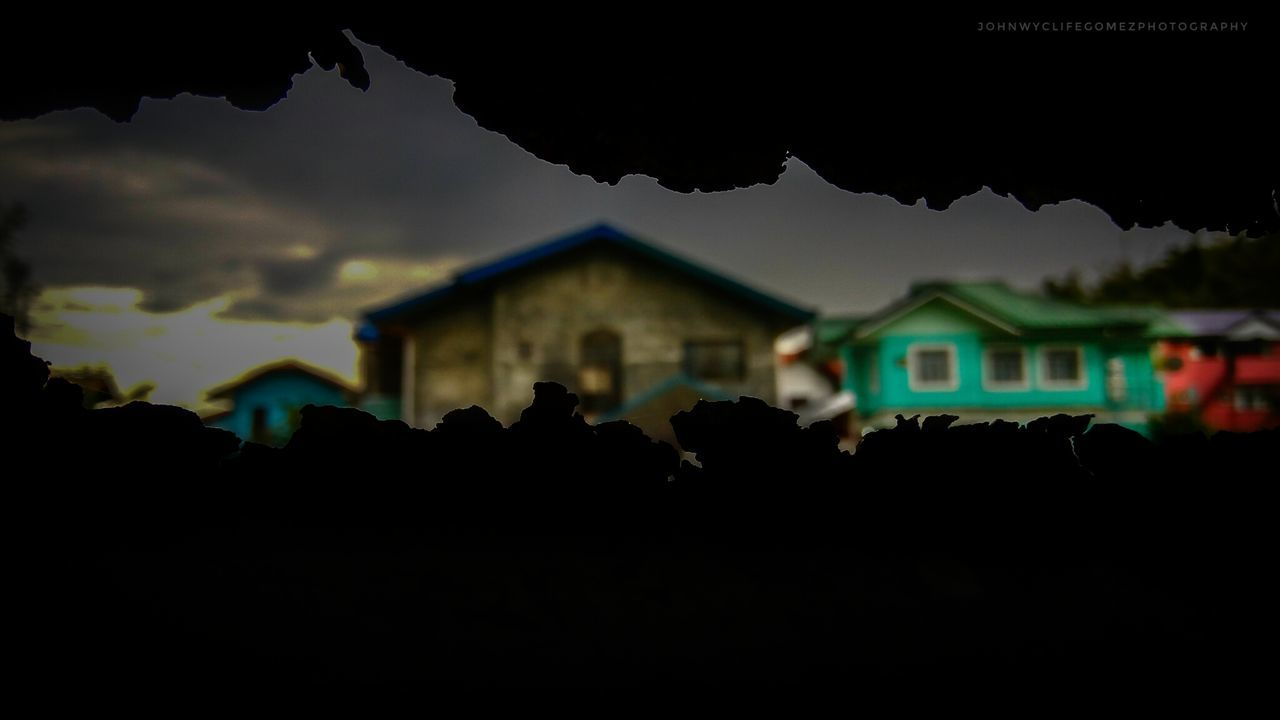 built structure, architecture, house, building exterior, silhouette, sky, night, outdoors, no people, close-up