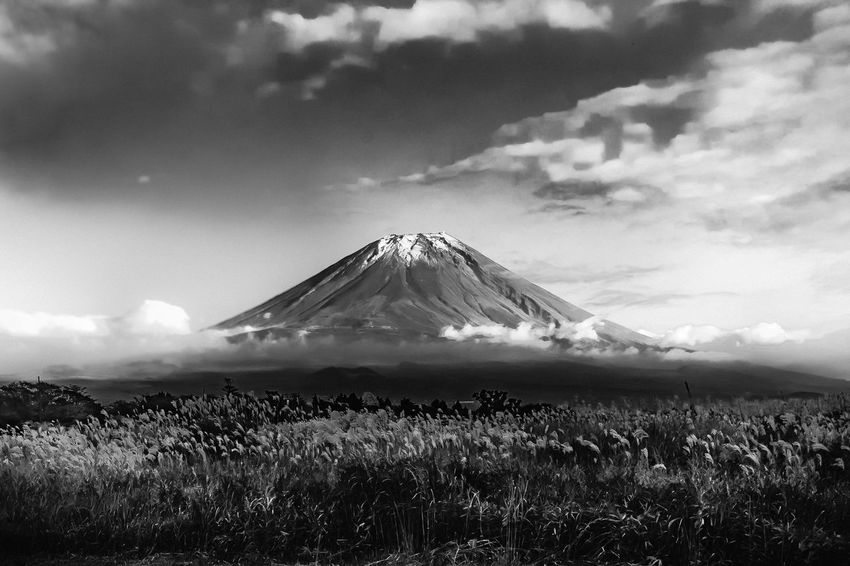 Mount Fuji Mount FuJi Fuji Japan Volcano Mountain Cloud - Sky Beauty In Nature Outdoors Snowcapped Mountain Blackandwhite Leica M9 This Is Strength Autumn Mood Holiday Moments