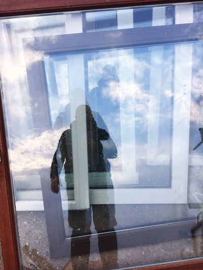 Window Looking Through Window Sky Day Reflection One Person Cloud - Sky Curtain Indoors  Real People Water Standing Nature Women People Shadow John Wayne Western Shadows & Lights Windows Window View Reflection Reflections