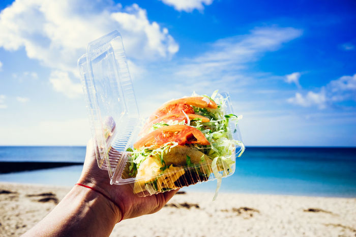 Eat Out OKINAWA, JAPAN Okinawa Tacos Beach Beachphotography Day Food And Drink Holding Horizon Over Water Human Hand King Taco Lunch At Beac Lunchtime! Nature Okinawa Love Okinawan Foods One Person Outdoors Sea Sky Take Away Food Take Out Food Tomatoes Water