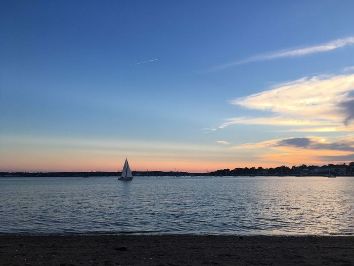 Sailboat Sunset Water Sky Beauty In Nature Sea Nature Tranquility Tranquil Scene