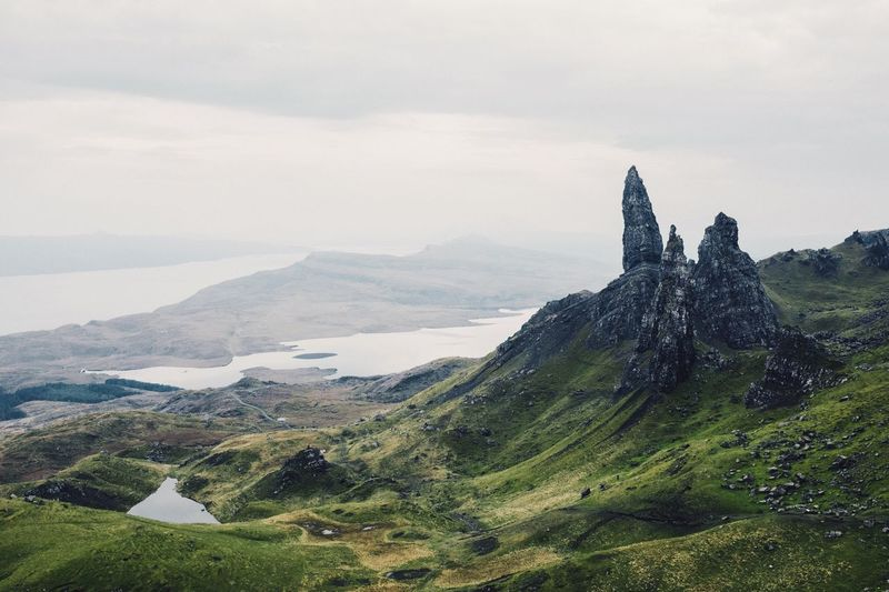 Scenic View Of Old Man Of Storr Against Sky