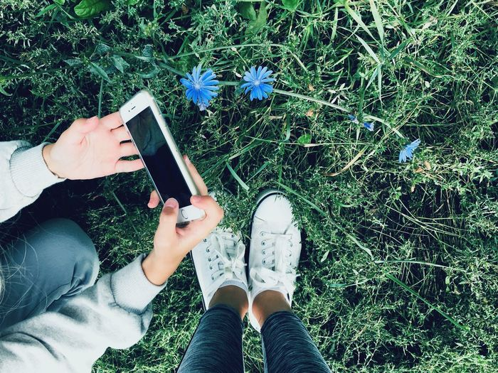 Blue flower Lithuania Green Grass Hands Leg Photography People Two Girls Posing Jeans Playing Field Playing Game Phone White Sneakers Sneakers Blue Flowers Legs Grass Blue Flowers