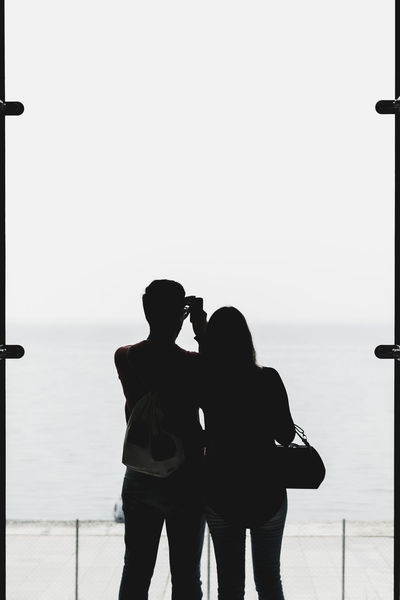 Clear Sky Contrast Couple Couple - Relationship Heterosexual Couple High Contrast Horizon Over Water Love Mobile Photography Mobilephotography Photographing Photography Real People Sea Shillouette Silhouette Sky Standing Togetherness Two People Water Window