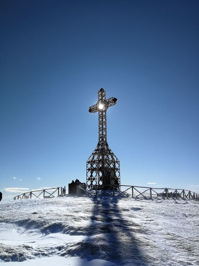 Croce Del Pratomagno Cross Ice Pratomagno Spirituality Toscana Trekking Tuscany Winter Adventure Blue Casentino Clear Sky Day Low Angle View Mountain No People Outdoors Sky Snow Valdarno