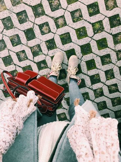 Human Leg Shoe Low Section Human Body Part One Person High Angle View Day Outdoors Real People Lifestyles Women Standing Sitting Adult Men People Only Women Adults Only Close-up Autumn Autumn Colors Autumn Collection Authentic Moments Autumn Colours