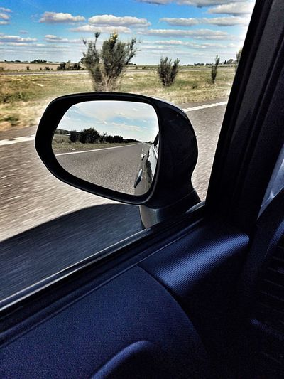 The Drive Car Car Interior Vehicle Interior Reflection Side-view Mirror Transportation Vehicle Mirror Tree Mode Of Transport Sky Steering Wheel Day Land Vehicle No People Nature Close-up Scenics Beauty In Nature Outdoors Love My Fit Honda Fit
