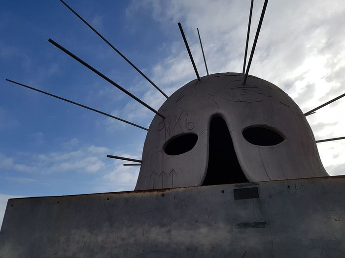 Mimmo Paladino's helmet at Castel Sant'Elmo in Naples Naples, Italy Naples Art Castle Castel Sant'elmo Metal Industry Business Finance And Industry Sky