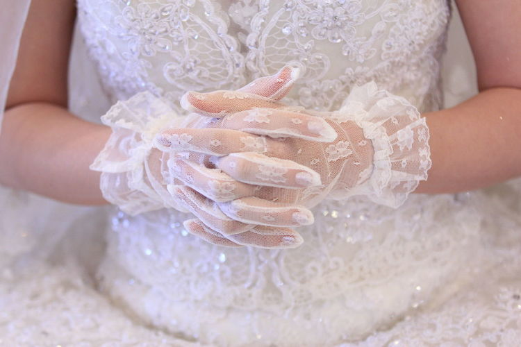 Wedding Gloves Hand One Person Women Midsection Hand Real People Adult Human Hand Human Body Part Holding Dress Clothing Close-up Girls Wedding Dress Wedding Wedding Ceremony Gloved Hand Gloves Glove