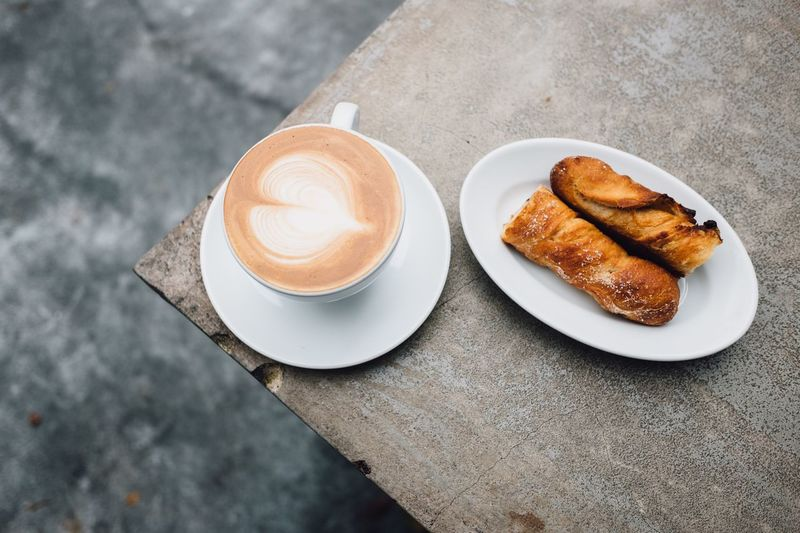 Coffee and pastries Coffee Pastry Morning Coffee Minimalism Minimal Food And Drink Refreshment Coffee - Drink High Angle View Table Drink Croissant No People Food Latte Japan Tokyo