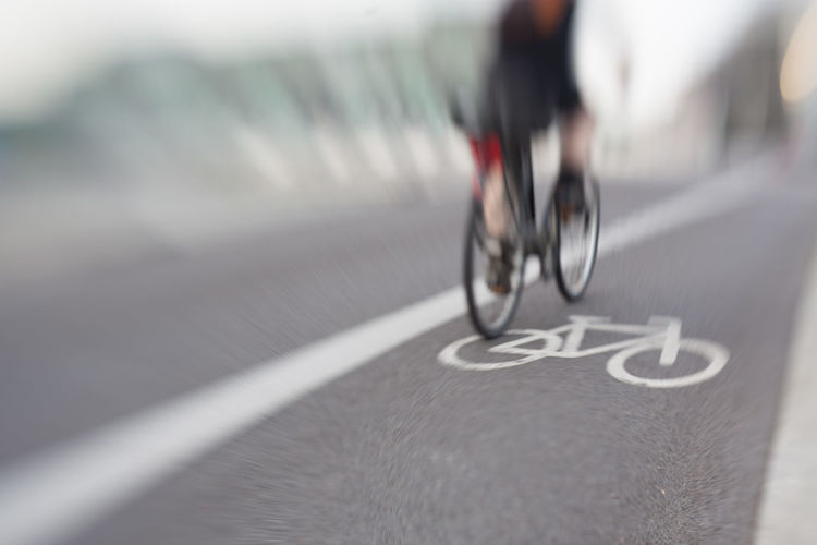 Blurred motion of bicycle