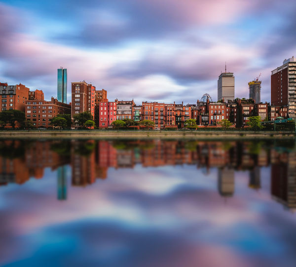 Back Bay skyline from the Esplanade in Boston, New England, United States Blue Hour Boston New England  Architecture Built Structure City Cityscape Cloud - Sky Landscape Long Exposure Modern Purple Reflection Urban Skyline Water Waterfront