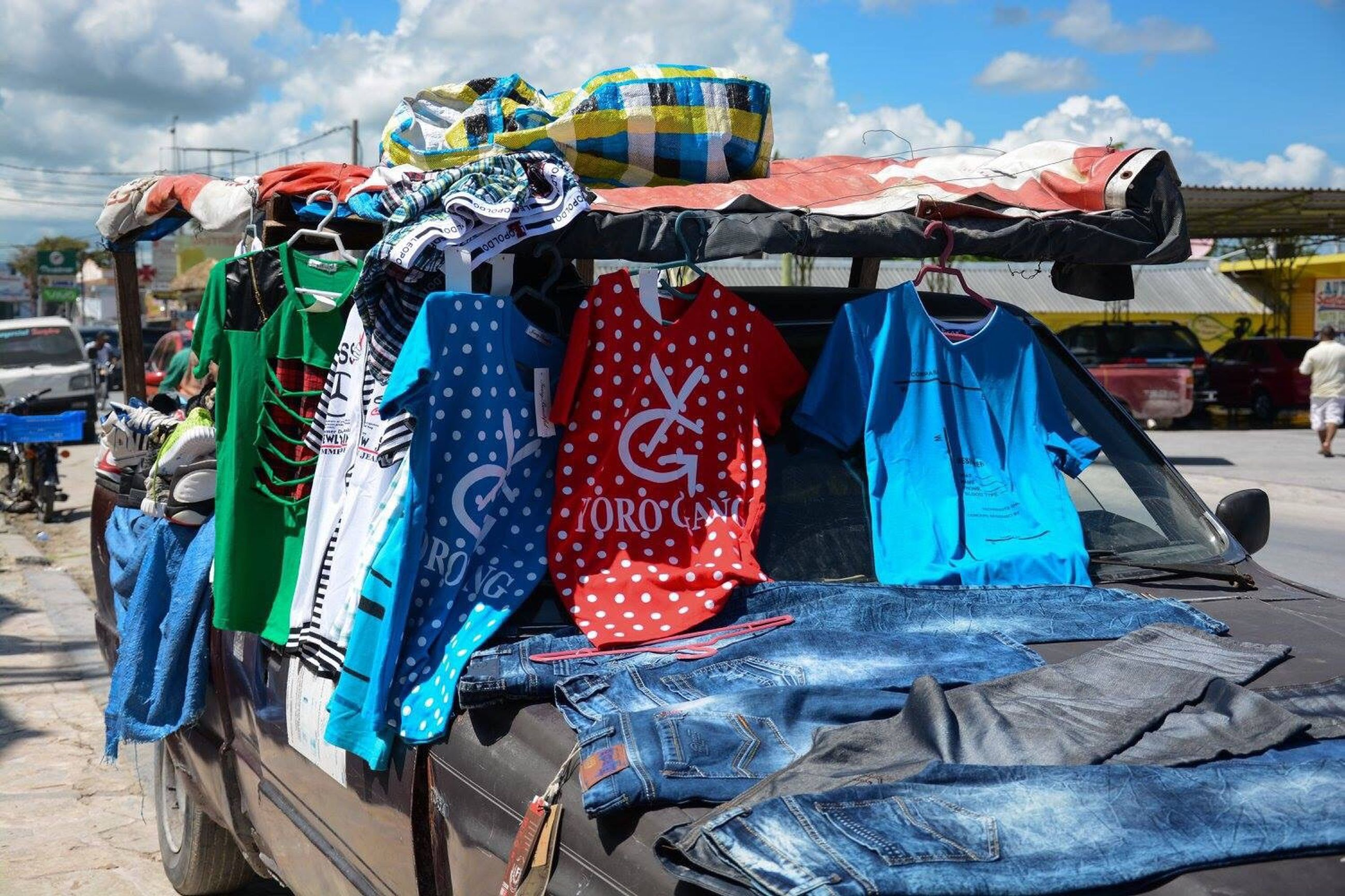 hanging, sky, multi colored, city, outdoors, variation, cloud - sky, choice, market stall, day, no people