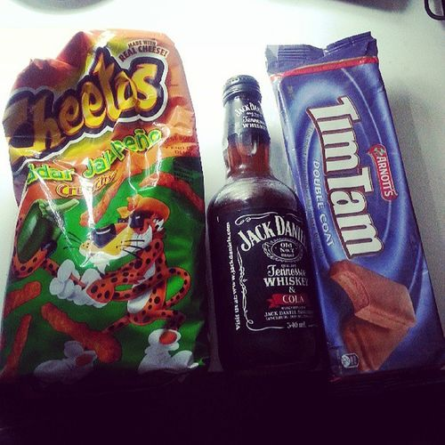 Cheetos Jackcoke and Timtams while watching The Naked Mile! Haha Moviemarathon sexynight