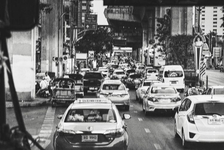 Confusing Car Transportation Road Traffic Outdoors Bangkok Blackandwhite