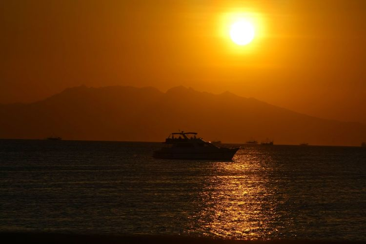 SHIP AND THE SEA Water Sea Sunset Offshore Platform Harbor Sailing Refraction Mountain Ferry Water Vehicle Boat Sailing Boat My Best Photo