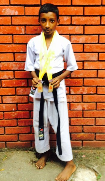 5Age Of Black Belter Shotokan Karate KID 💪🏻😎👍🏻 Blackbelt Age5 Brick Wall Front View Full Length Standing One Person Young Adult One Man Only
