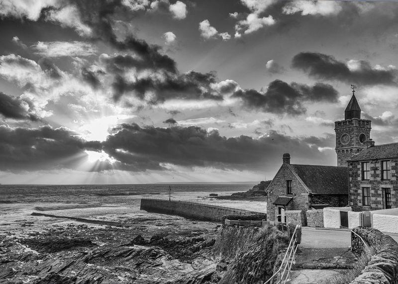 Blackandwhite Building Exterior Cloud - Sky Cornwall Horizontal Monochrome No People Outdoors Porthleven Seascape Sky Sunbeam