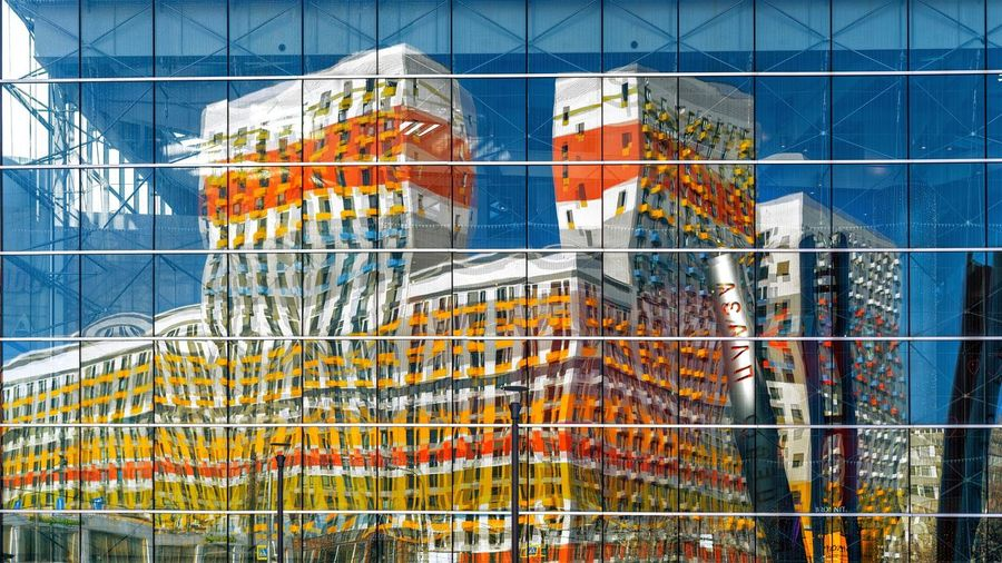 Built Structure Architecture No People Full Frame Wall - Building Feature Building Exterior Backgrounds Boundary Multi Colored Window Outdoors Glass - Material Day Fence Metal Building Creativity Pattern Barrier Nature