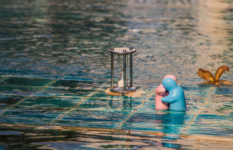 View of figurine in water