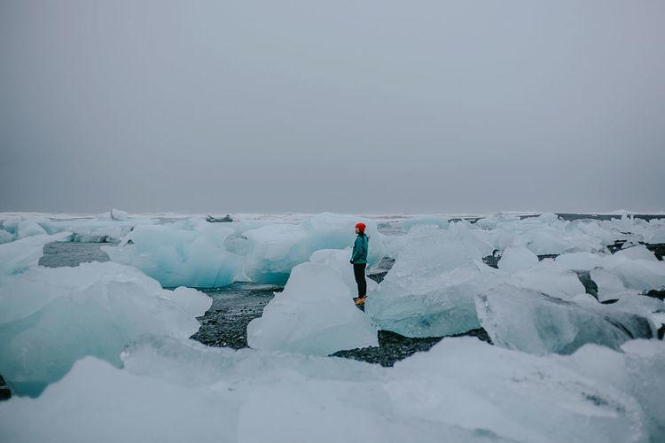 Woman standing on frozen sea