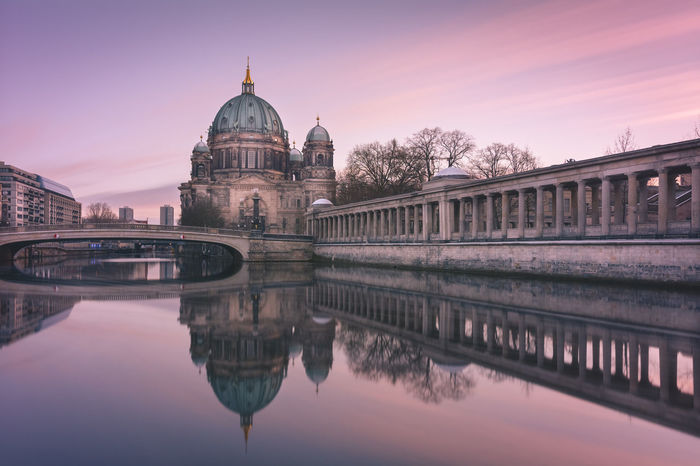 Berlin Cathedral at dusk. Architecture Berlin Berlin Cathedral Berlin During Winter Season Berlin Mitte Berliner Ansichten Berliner Dom Canal Capital Cities  City Cloud - Sky Dome Famous Place German International Landmark Landmark No People Outdoors Reflection River Sky Tourism Travel Destinations Urban Icon Water