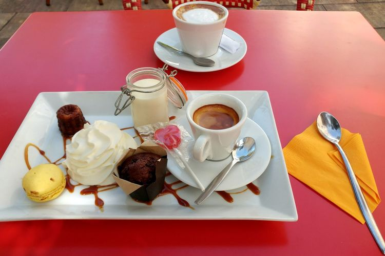 The French lunch of champions. Food And Drink Indulgence Dessert Ready-to-eat Cafe Creme Eat Dessert First Coffee And Dessert Food And Drink High Angle View Of Dessert Cafe Gourmand  Marseille Vieux Marseille French Cafe My Best Travel Photo