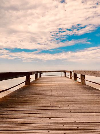 Sky Cloud - Sky Land Water Tranquil Scene Scenics - Nature Beach Tranquility Sea The Way Forward No People Direction Wood - Material Day Nature