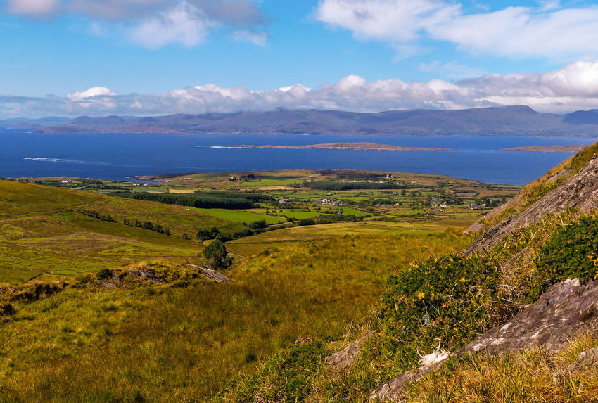 Ireland Beara Peninsula Horizon Over Sea Beara Way Eyeries EyeEm Selects Mountain Rural Scene Sea Agriculture Field Farm Sky Horizon Over Water Landscape Terraced Field Seascape Coast Valley Calm Romantic Sky Dramatic Sky Coastline Idyllic