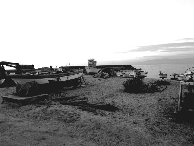 Black And White Beach Sea Summer Boats Day Tranquility Tranquil Scene Water Sky Illuminated Overexposed Sand Pebble Sea Life Pebble Beach Scenics