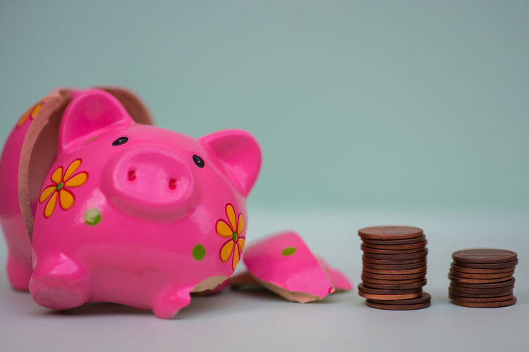 Financial Crash Savings Finance Investment Coin Piggy Bank Currency Wealth Pink Color Business Studio Shot Indoors  Colored Background No People Still Life Animal Representation Close-up Stack Copy Space Representation Large Group Of Objects Coin Bank Economy Blue Background