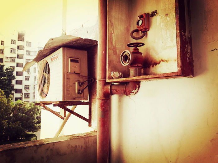 Air Conditioner Architecture China Old Old Apartment Old Buildings Old House Old Things Part Of Rusty Shenzhen Yellow