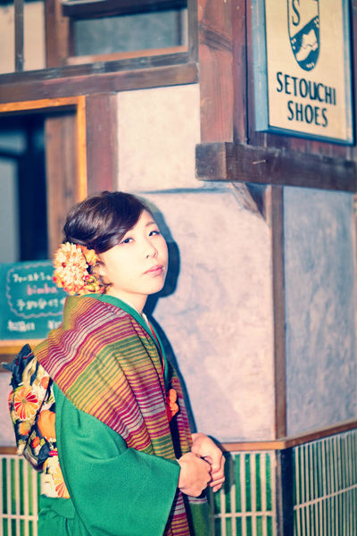 Beauty Kimono Lifestyles Old-fashioned Outdoors People Portrait Real People Women Young Women