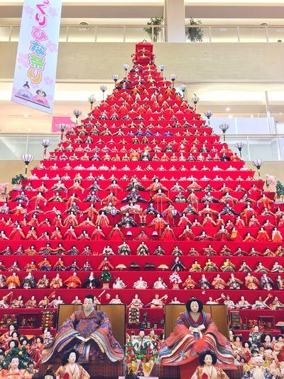 Dolls' pyramid in Kōnosu city. Check This Out Unique Doll Dolls Konosu Japan Tadaa Community Hinamatsuri 雛祭り Toys Japanese Culture Exhibition Pyramid Celebration Red
