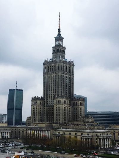 Architecture Built Structure Sky Building Exterior Cloud - Sky Tower City Skyscraper Low Angle View Day Travel Destinations Outdoors Modern No People Cityscape Warsaw Warsaw Poland Warschau Culturebuilding