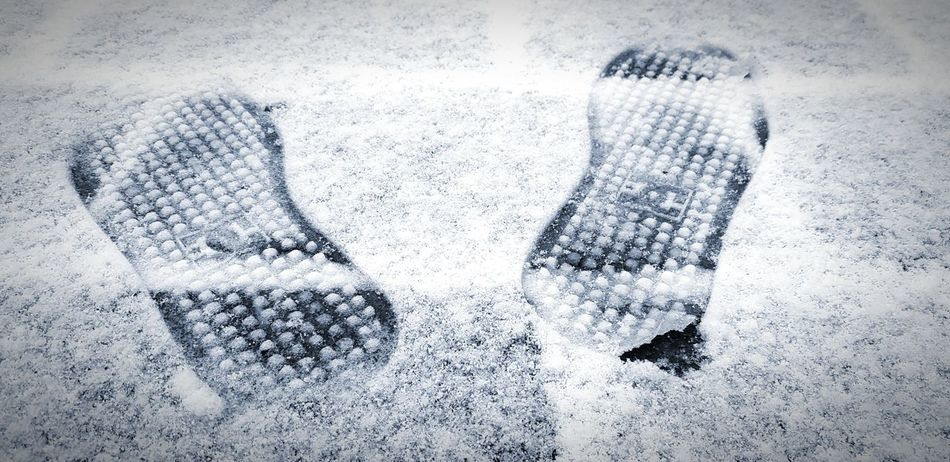 FootPrint Snow ❄ Beauty In Nature Wintertime White Color Cold Temperature Outdoors Cool Colours Black & White Close-up Be. Ready. Black And White Friday EyeEmNewHere Crafted Beauty