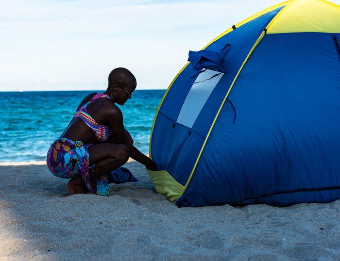 Woman on beach in florida