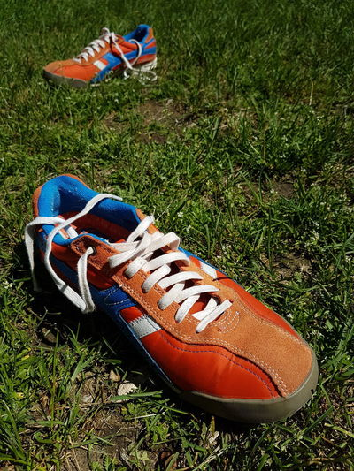 Out Of The Box Grass Shoe Field Outdoors No People Running Shoes Grass
