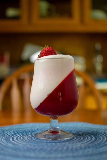 Snack Snack Food Snack Time! Cool Whip Whip Cream Jello Dessert Strawberry Fruit Glass Indoors  Indulgence Close-up Table Drinking Glass No People