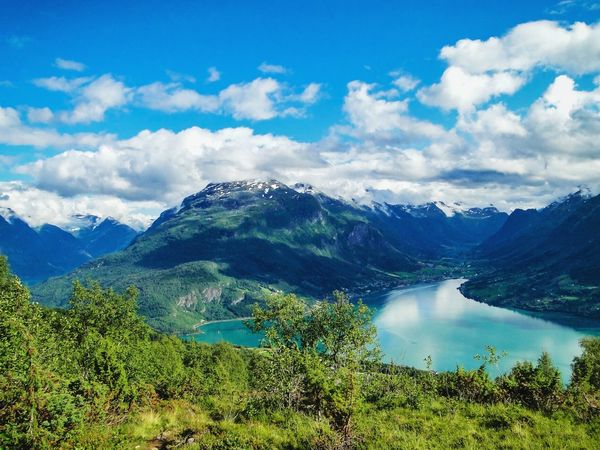 Mountain Landscape Mountain Range Mountain Peak Nature Travel Scenics Summer Beauty In Nature Cloud - Sky Outdoors Tourism Norway Norway Nature Fjord Fjordsofnorway Hiking Hikingadventures Viewpoint Stryn EyeEm Landscape Extreme Terrain Travel Photography Blue Sky Klaquax_Norway