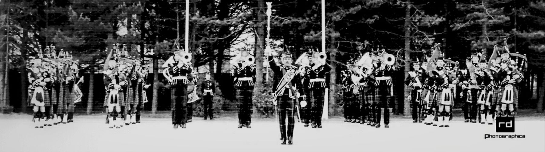 Pipes & Drums and Military Band of The 1st Battalion The Royal Scots 1982 Check This Out Eye4black&white  . Black & White Military Bands